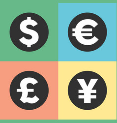 money symbols icons vector image vector image