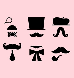 Mustaches and hats retro accessories set vector image vector image