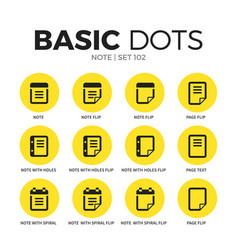 note flat icons set vector image