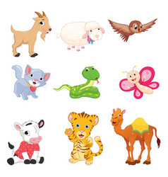 Of cartoon animals vector