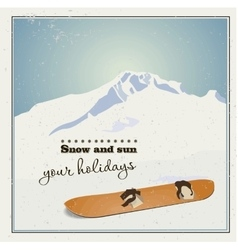 Old snowboard in the snow vector image vector image