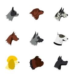 Pet dog icons set flat style vector
