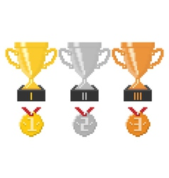 Pixel trophy cups and medals vector image vector image