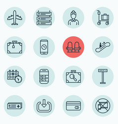 Set of 16 airport icons includes enter suitcase vector