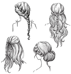 set of different hairstyles vector image vector image