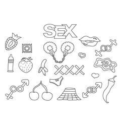 sex and porn elements hand drawn set vector image vector image