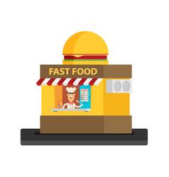 Stall sells fast food flat vector