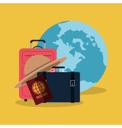 Travel vacation world passport suitcase hat vector