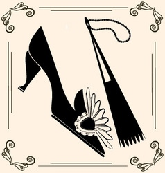 vintage shoe and fan vector image vector image