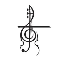 violin and treble clef vector image