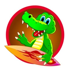 Crocodile surfer vector