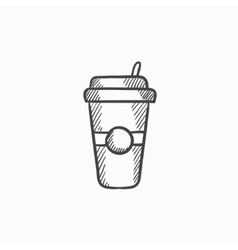Disposable cup with drinking straw sketch icon vector