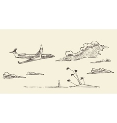 Drawn vacation airplane island sketch vector