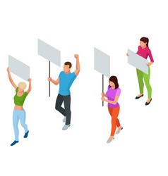 Protest isometric people with placard and vector