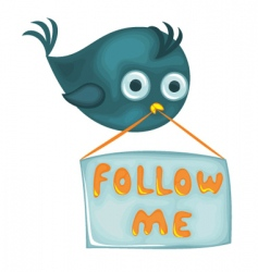 bird with follow me sign vector image