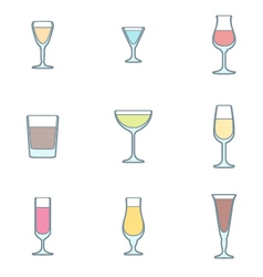 Color outline alcohol glasses icon set vector