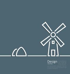 village landscape windmill haystack design minimal vector image