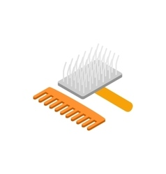 Brush and comb for animals icon vector