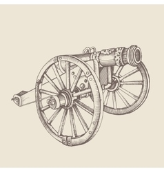 Retro old style cannon vector