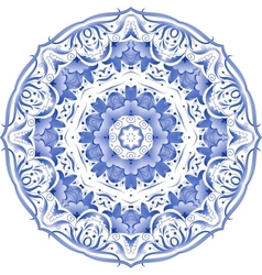 Blue floral circle pattern in gzhel style vector image vector image
