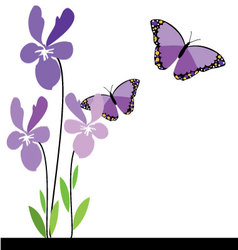 Butterflies and flowers 10 vector