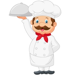 Cartoon chef serving food in a sliver platter vector