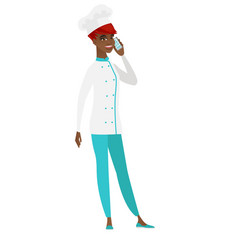 Chef cook talking on a mobile phone vector