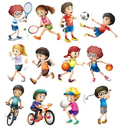 Children doing different sports vector image vector image