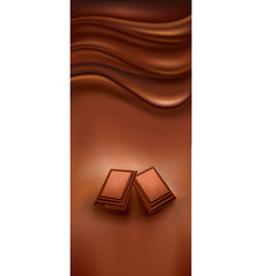 Chocolate background with pieces of chocolate vector