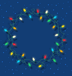 circle frame of glowing colorful christmas lights vector image