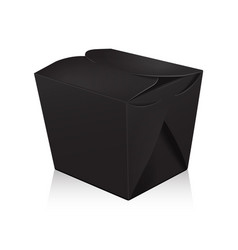 closed black blank wok box mockup 3d vector image