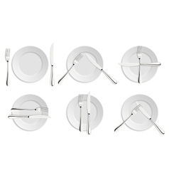 Dining etiquette forks and knifes signals vector image