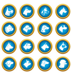 Dog icons blue circle set vector
