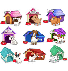 Dogs with houses vector image
