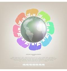 Elephant walk around the world concept background vector