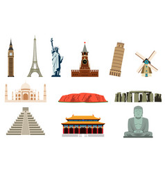 famous world landmarks travel and tourism vector image vector image