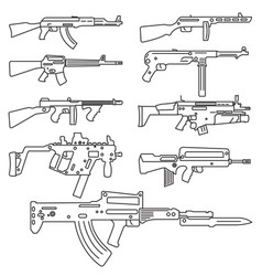 Firearm set automatic rifle machine gun outline vector