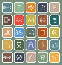 Fitness line flat icons on green background vector