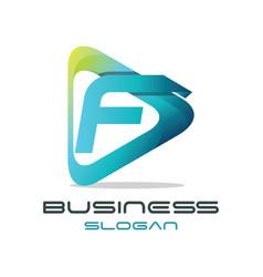 letter f media logo vector image