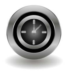 Metallic clock button vector image vector image