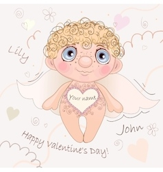 Named Angel Heart card for Valentine Day vector image