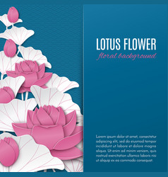 oriental floral background with pink paper lotus vector image vector image