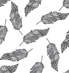 Ornamental hand drawn sketched feathers seamless vector image vector image