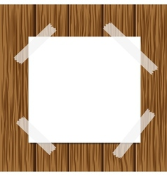 Paper message and wood background vector image