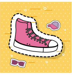 pink sneaker sport accessory icons sticker vector image