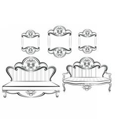 Royal sofa and frames set vector