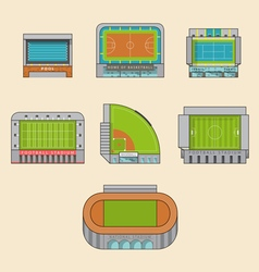 Set of sport stadiums building vector