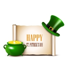 Stpatrick day background with scroll paper vector