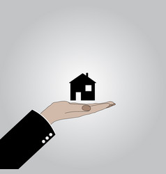 The hand keeps the house vector