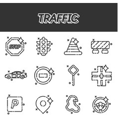 Traffic icons pattern vector